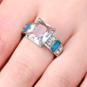 Jewelry - White Topaz Silver Fire Opal Cocktail Ring Size 8